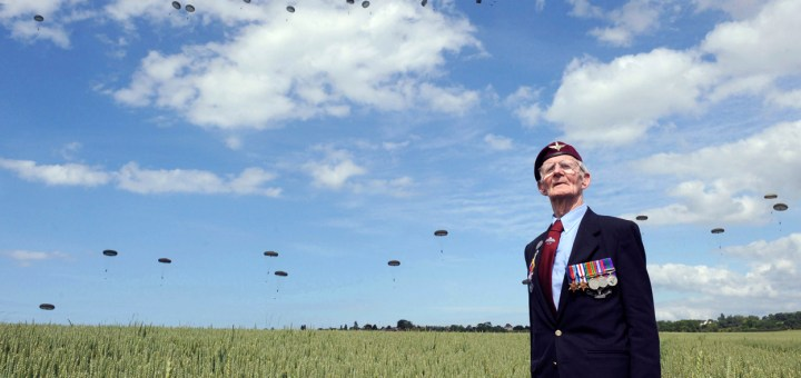 Frererick Glover, a D-Day veteran, looks out over the fields of Western France.