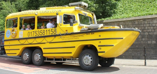 The distinctive yellow Duck Tour amphibious vehicle in Windsor.