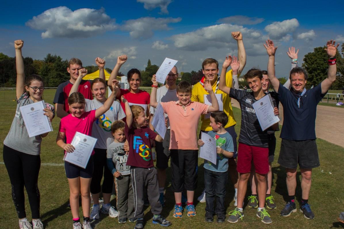 A team photograph of the Furze Platt Scout Group members who ran.