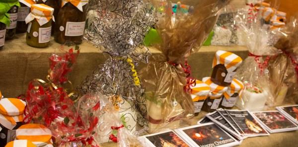 Among the homemade goods for sale: jams, jellies, and Christmas cards.