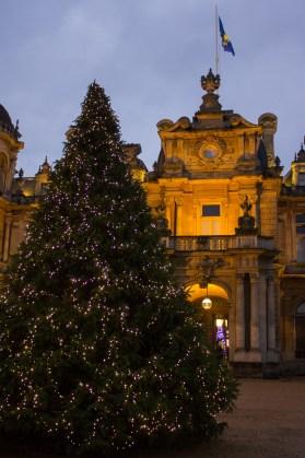 A Christmas tree outside Waddesdon Manor.