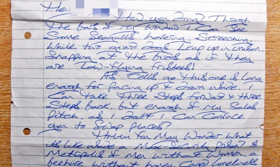 The letter sent by a prison inmate to Cambridge student who appeared on television at Christmas.