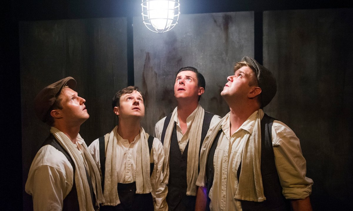 The cast of Operation Crucible: Paul Tinto (Phil), Salvatore D'Aquilla (Bob), James Wallwork (Arthur), and Kieran Knowles (Tommy).