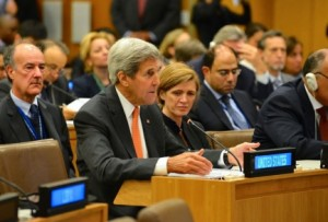 Former U.S. Secretary of State, John Kerry, at the United Nations. Courtesy U.S. Department of State.