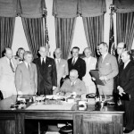 "Signing of the NATO Treaty. President Truman stated that: ""By this treaty, we are not only seeking to establish freedom from aggression and from the use of force in the North Atlantic community, but we are also actively striving to promote and preserve peace throughout the world."" Harry S. Truman, August 24, 1949"