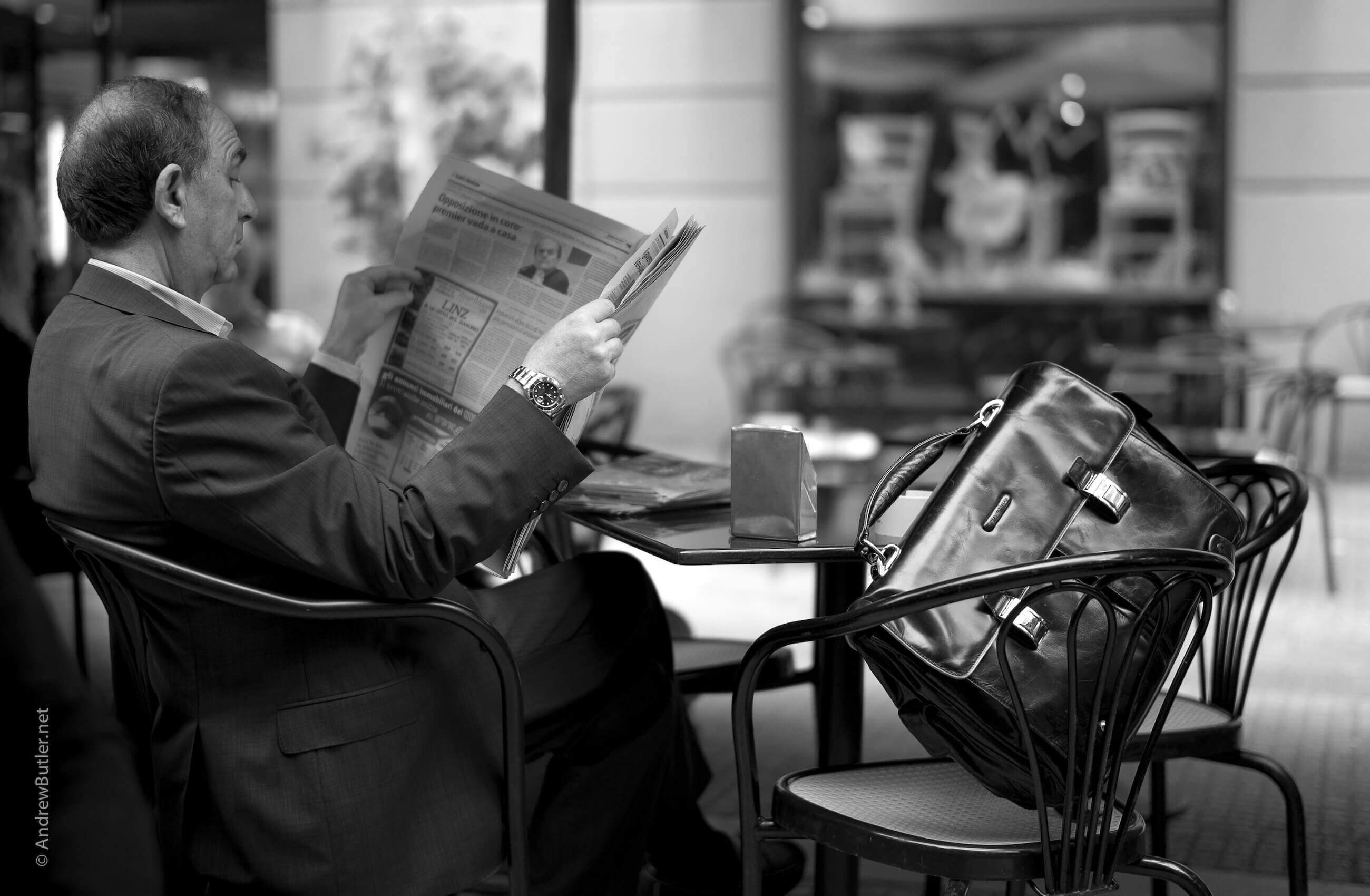 Photo of Sicilian Man in Palermo Cafe