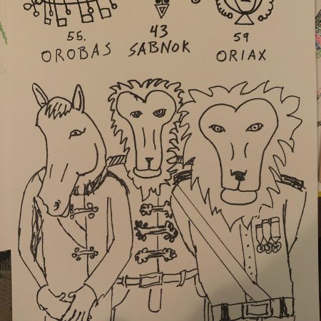 three animal-headed beings labeled Orobas, Sabnok, and Oriax