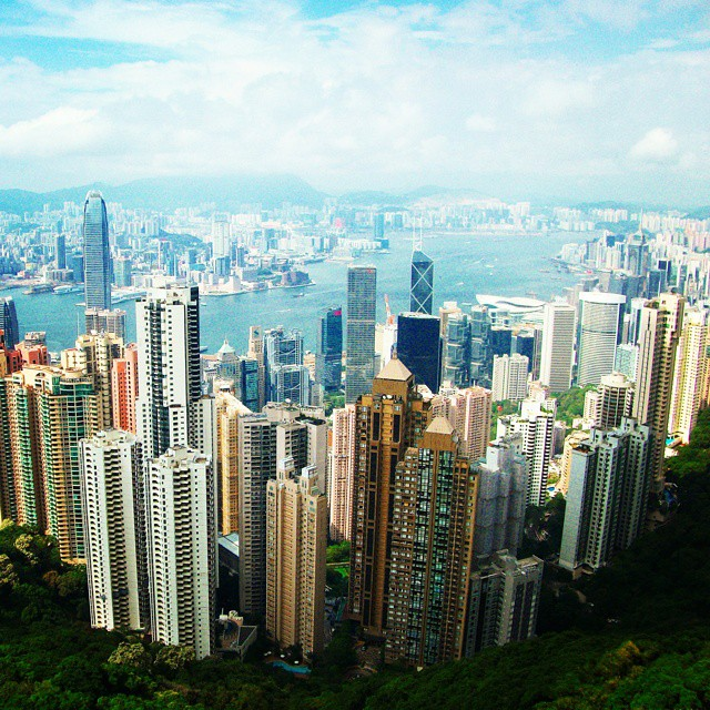 View from Victoria Peak, Hong Kong, on a sunny day
