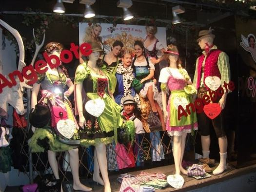 Traditional Bavarian clothing on sale in a store near Marienplatz