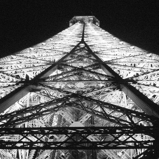 The Eiffel Tower, black and white