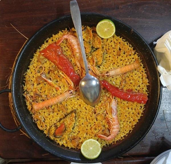 Seafood paella in a restaurant. La Mata, Torrevieja