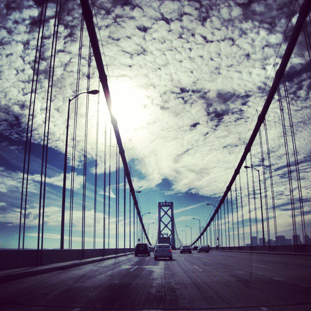 Throwback: San Francisco-Oakland Bay Bridge #sanfranciscocalifornia #sanfrancisco #california #ca #traveling #mysanfrancisco  #bayarea #norcal #northerncalifornia #sanfran #traveler #californialove  #cityscape #travel #sky #clouds #cloudporn #skyporn #skyline #bridge #bridges #architecture #architectureporn #sanfranciscooaklandbaybridge #highway #freeway #cali #sun #sunrays #driving