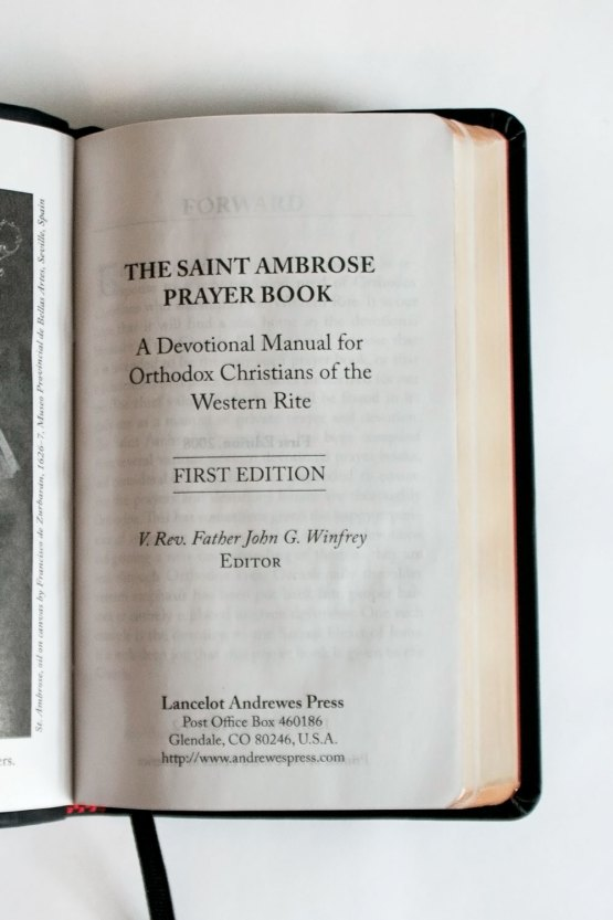 The Saint Ambrose Prayerbook Title Page
