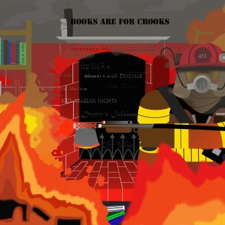 This was my favorite project for Photoshop II; the objective was to use only photo shop to illustrate an image. At first I hated the idea because illustrating is what illustrator is for; but I used the opportunity to experiment with type; flame, futuristic weapons and lighting. The fireman is Guy Montag, from Ray Bradbury's Fahrenheit 451.