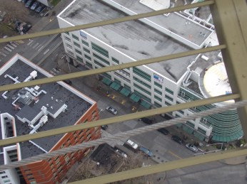 Looking down on KOMO Plaza