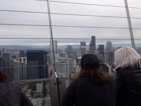 The crowded Space Needle observation deck