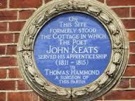 Plaque to John Keats on a building in Keats Parade, Church Street, Edmonton, north London.