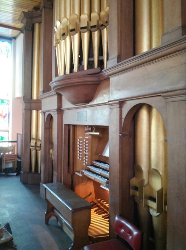 Five Previous Wounds Catholic Church, London NW10, UK: organ facade, facing south.