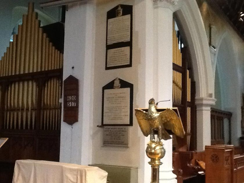 All Saints church, Edmonton, north London, The present-day organ seen past the north side of the chancel arch.