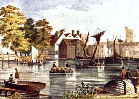 Barking miill. Barking quay, somewhat idealised, mid c.19.