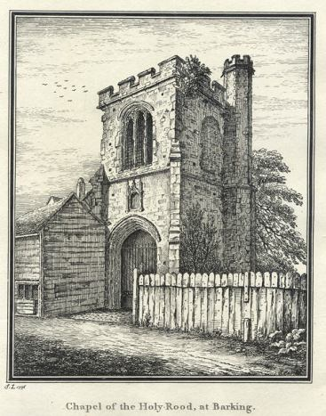 Barking Abbey, the Curfew Tower, gateway and , Chapel of the Holy Rood. C19 engraving