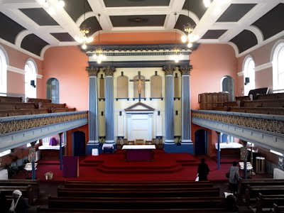 St Mellitus Catholic church - originally New Court Congregational Church (1871), Islington London (UK) by C. G. Searle (1816-81), looking east c.2015