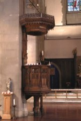 St Mary-of-Eton church (1890), London E9,' the pulpit c.2013