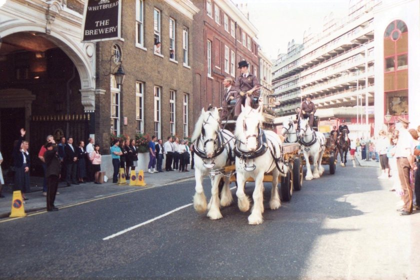 The last dray-horses leave the Whitbread brewery Chiswell Street, London EC1 in 1991
