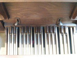 The Nicholson pipe organ in St Joseph's Church, Lamb's Buildings, London EC1: pedal board