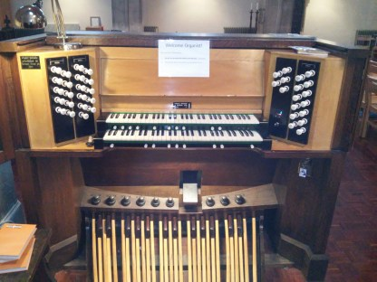 St Mary of Eton, Hackney Wick, London; the organ console 2016