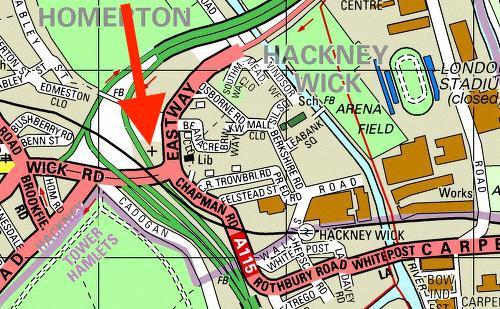 The location of St Mary-of-Eton church London E9, c.2000.