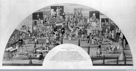 St Bartholomew Fair, 1721, design for a fan.