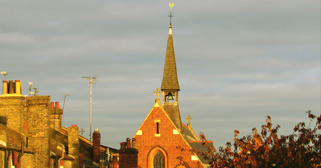 St Thomas the Apostle parish church, London N4: west end, roof and spire.