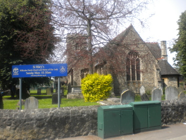 The church of St Mary Willesden seen from the east (Neasden Lane) c.2015,