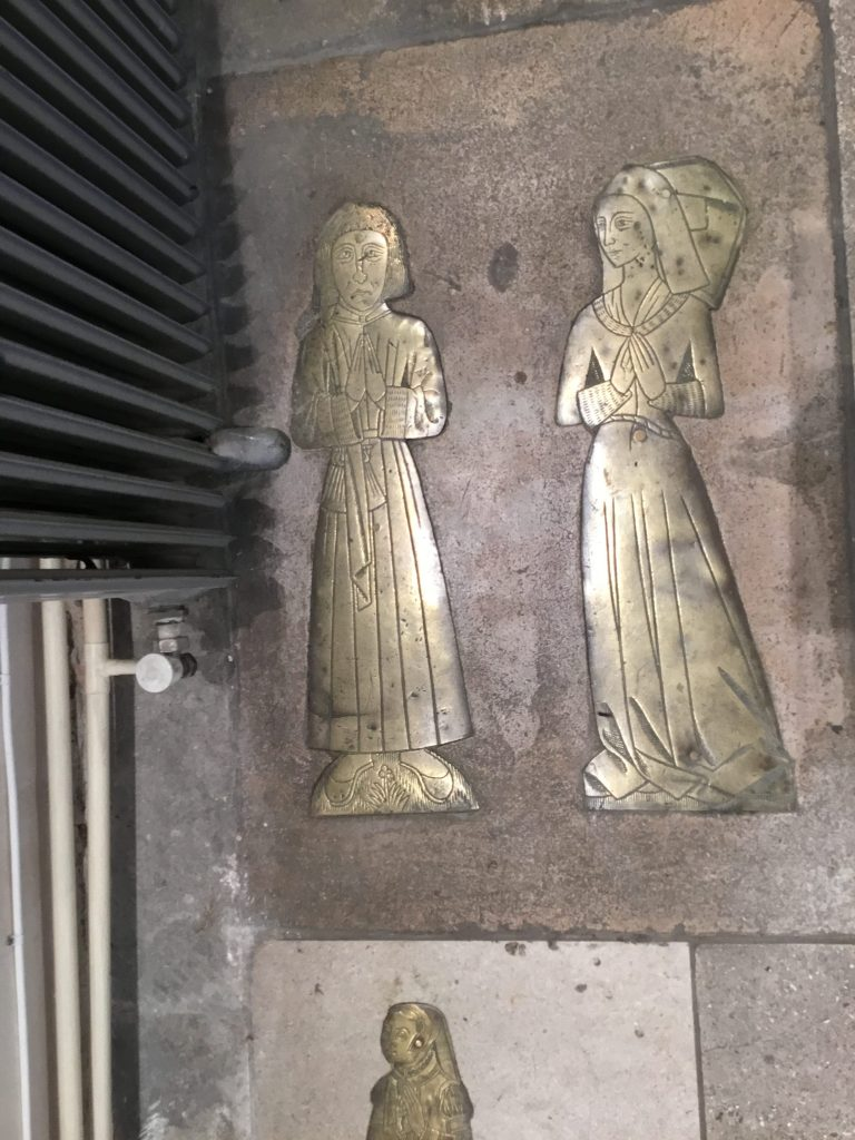 St Mary's Church, Willesden. Memorial brass to Bartholomew Willesden c.1492, and his wife Margaret. Originally part of a much larger memorial (Gb BL Landowe MS 874 f 78b). Image ©Andrew Pink 2017