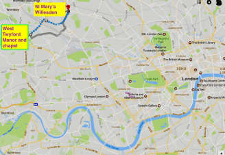Location of St Mary's West Twyford and St Mary's Willesden