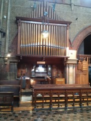 St Andrew Earlsfield, London UK, the organ (1921) by Harrison & Harrison of Durham, UK; seen from the chancel, 2017.