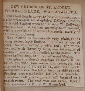 Details from a drawing by E W. Mountford, architect, of the proposed church of St Andrew Earlsfield, with newspaper cutting, c.1889. London Metropolitan Archive P95/AND1/063