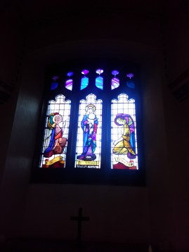 Stained glass (1947-8) by W. P Starmer (1871–1961) in the Lady Chapel of St Aldhelm's church, London N18, in 2017.