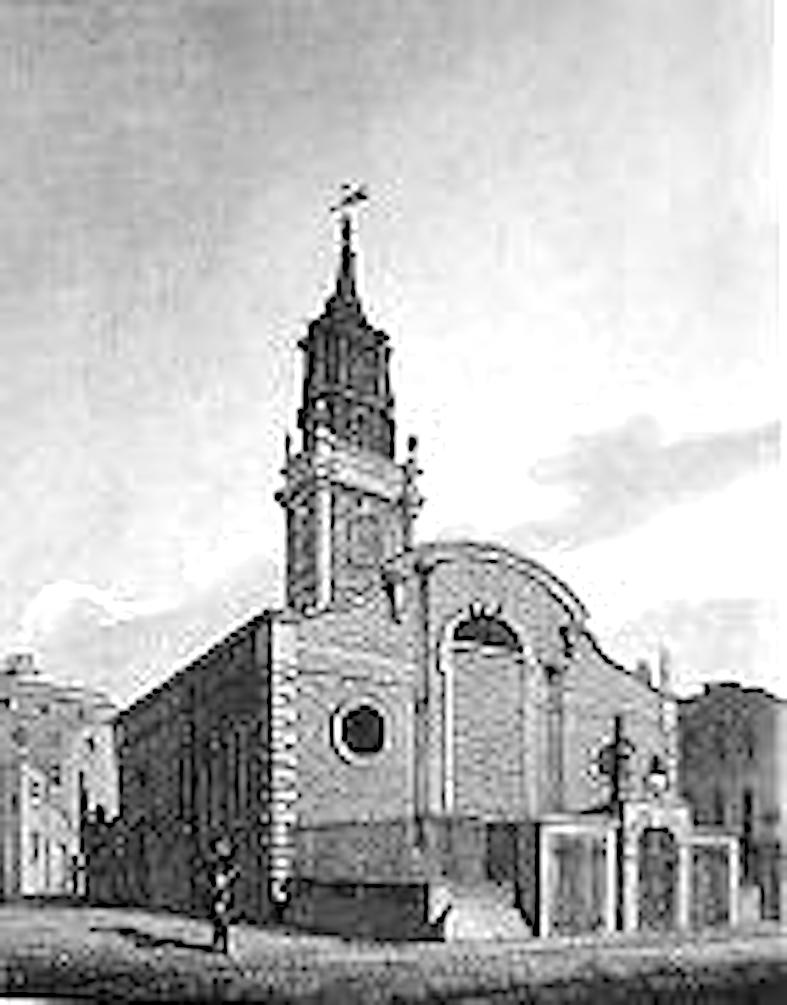 """'St Michael Bassishaw' by John Coney (1786-1833), engraved by Joseph Skelton (1783-1871) in """"Architectura Ecclesiastica Londini; being a Series of Views"""" (London: J. Booth, 1812)."""