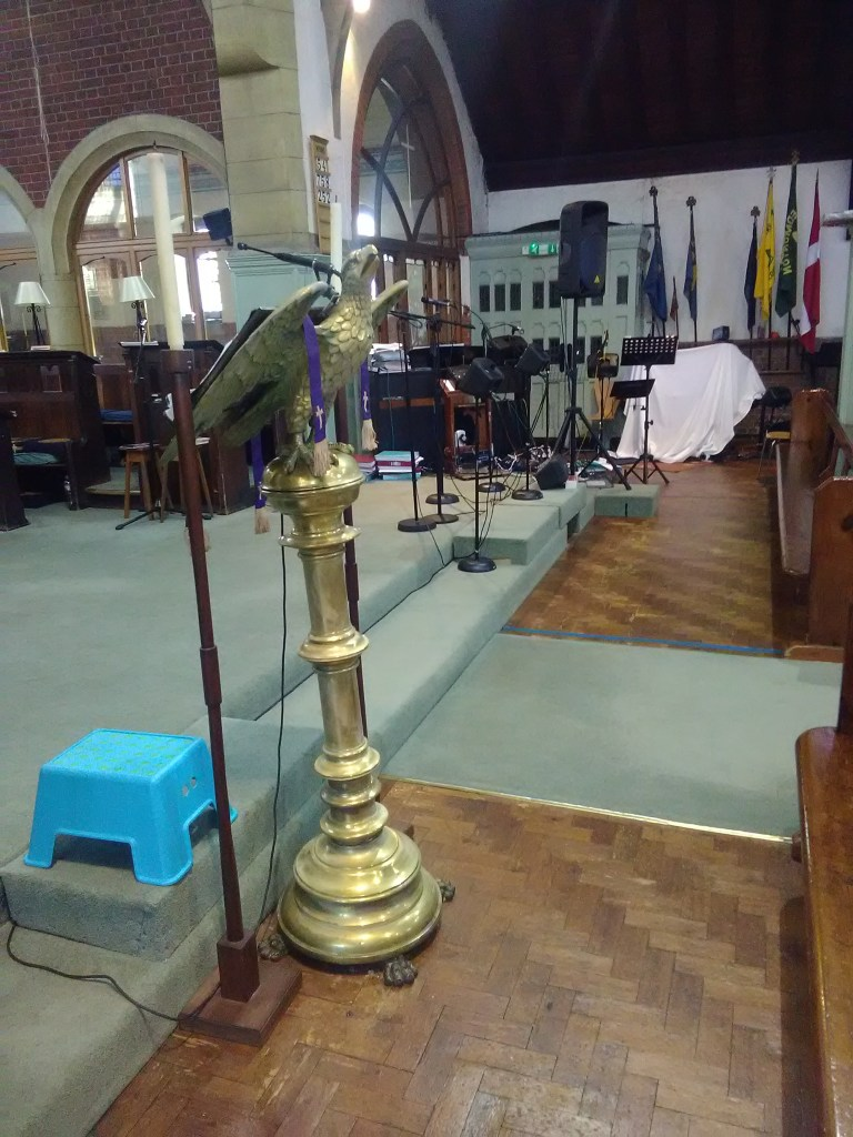 Lectern at St Aldhelm's church, London N18, in 2017.