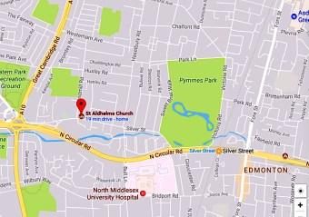 Location of St Aldhelm's church, Silver Street, London N18