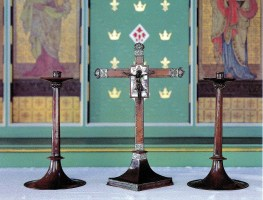 St Barnabas Walthamstow (1903) London E17, copper candlesticks and cross, (c.1905), by the Guild of Handicrafts. Source: Litten, 2003.