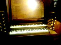 Console of the organ built by Walter J. Fisher, Oxford, 1904, for the church of St Barnabas, Walthamstow, London