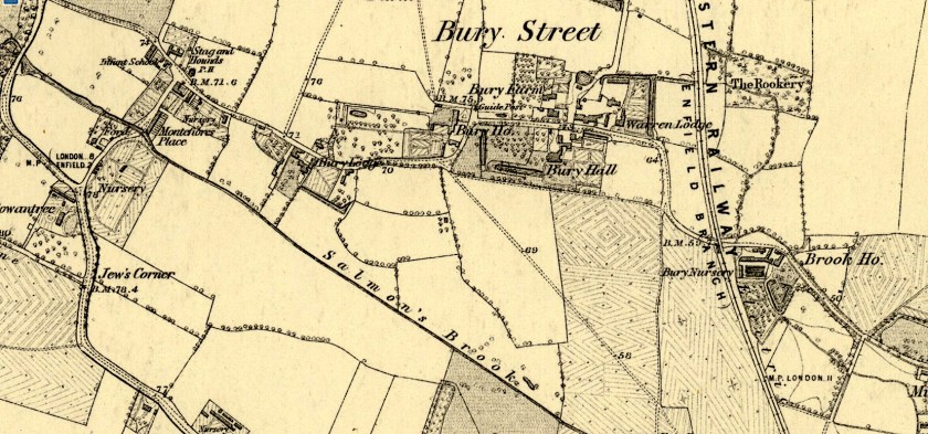Bury Street, Edmonton, north London in the mid 1860s. Source: Ordnance Survey map: Middlesex VII Surveyed 1863-4. Published: 1879