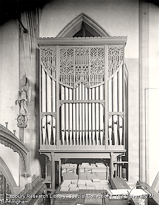 St Agnes Kennington, organ case (1911 by T. L. Moore), north side c.1921. [Source: University of Birmingham Special collections Freeman/452]