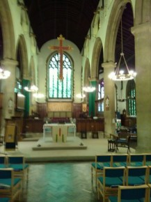 St Barnabas Southfields (London UK). The nave altar, looking east. [Source: Andrew Pink © 2019]