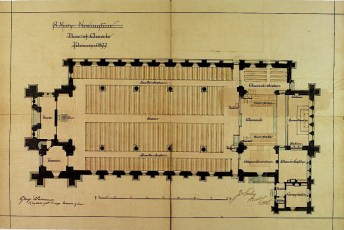 St Nary Newington. Froundplan 1877. Signed by the architect. [Source: Incorporated Church Building Society (ICBS), ref. 7677. http://images.lambethpalacelibrary.org.uk/]