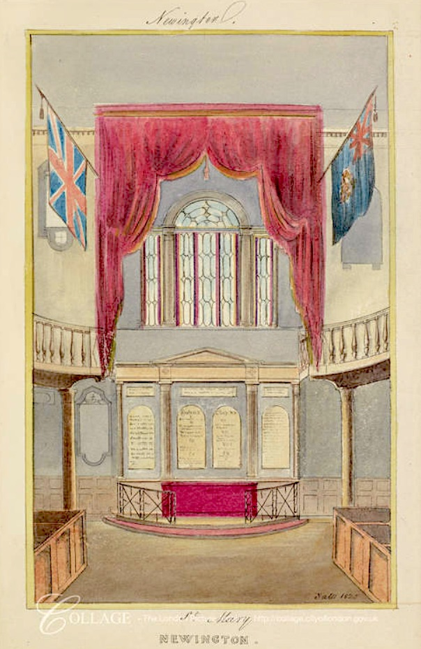 Interior view of St Mary Newington in Southwark. Watercolour (1823) by C. Yates. [Source: https://collage.cityoflondon.gov.uk]