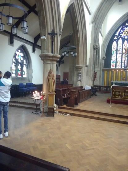 Interior looking north-west at St Matthias Stoke Newington, London N16.